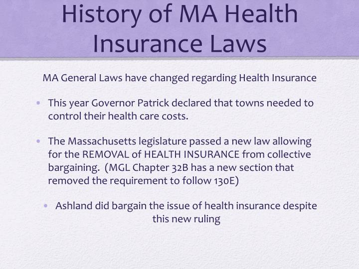 History of MA Health Insurance Laws