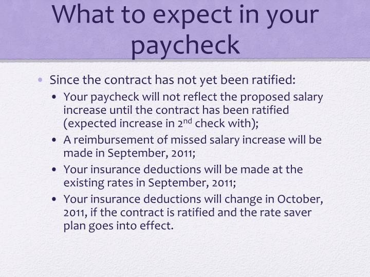 What to expect in your paycheck