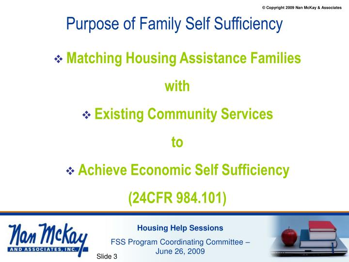 Purpose of family self sufficiency