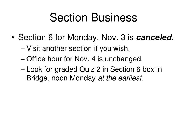Section Business