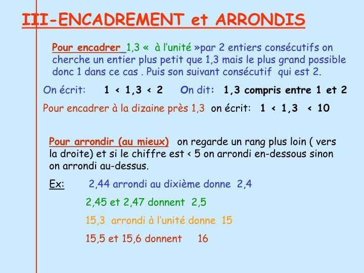 III-ENCADREMENT et ARRONDIS