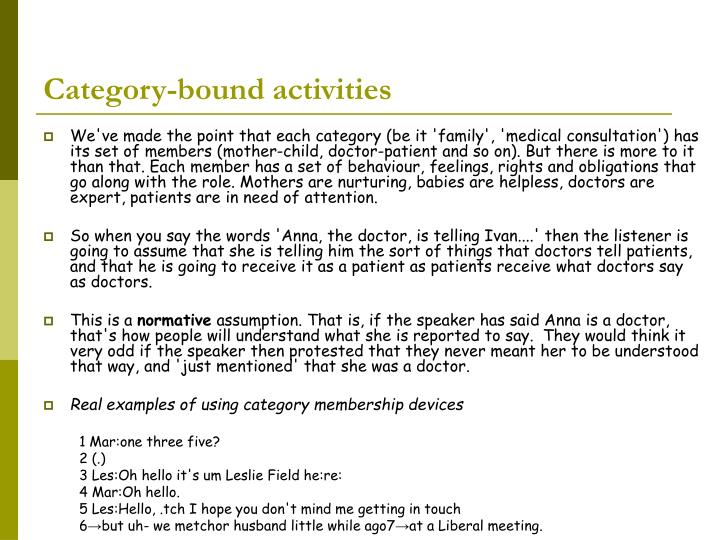 Category-bound activities
