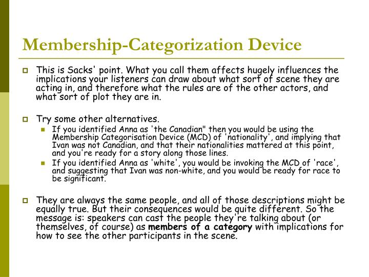 Membership-Categorization Device