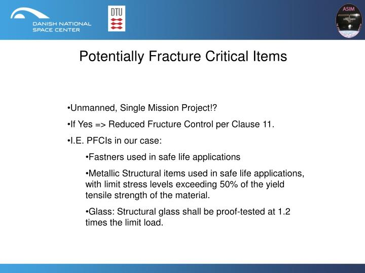 Potentially Fracture Critical Items