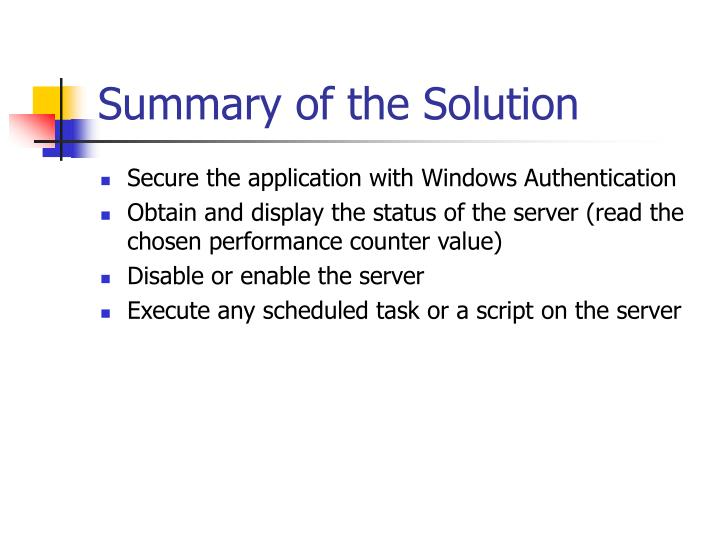 Summary of the Solution