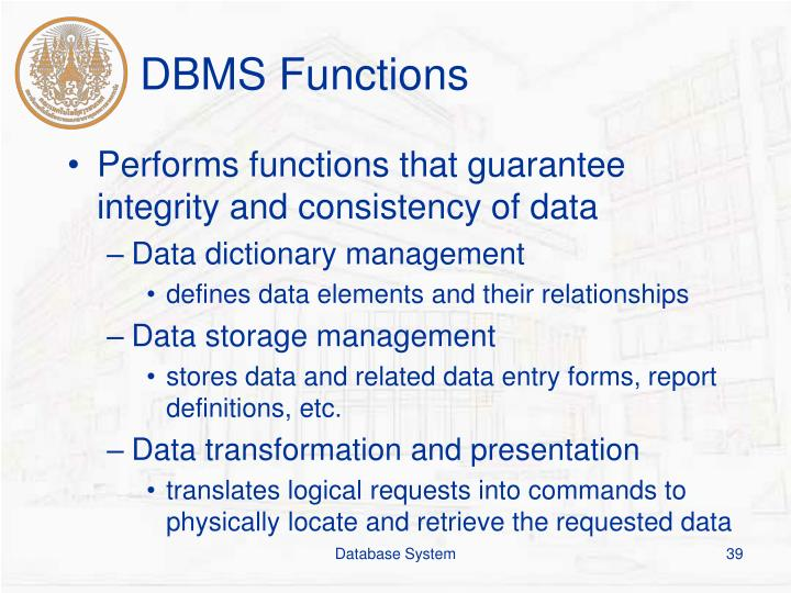 DBMS Functions