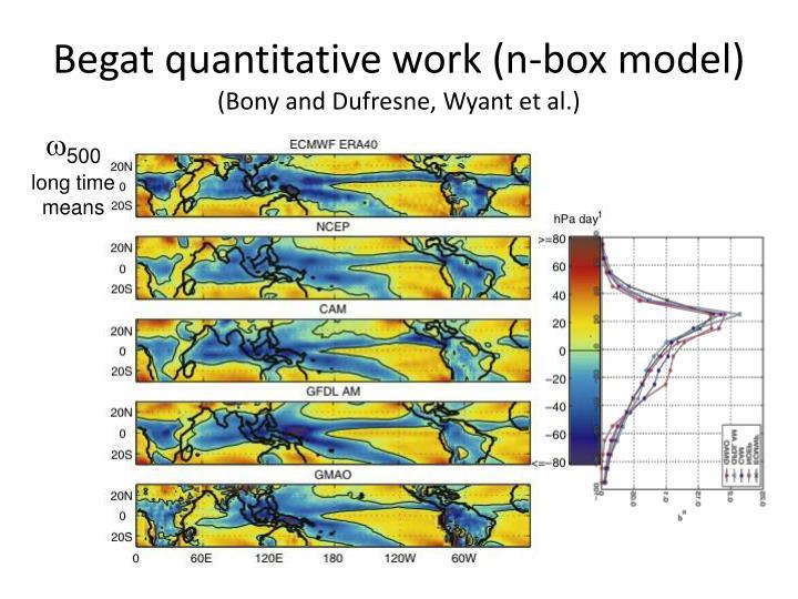 Begat quantitative work (n-box model)