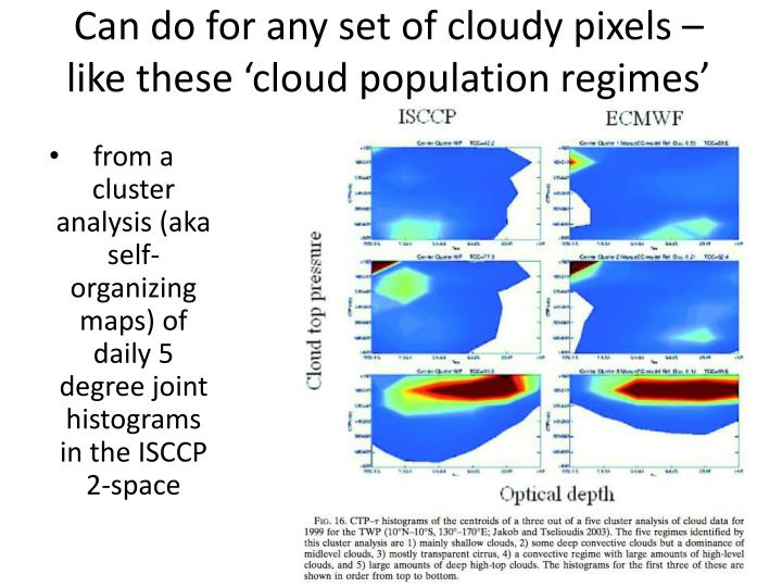 Can do for any set of cloudy pixels – like these 'cloud population regimes'