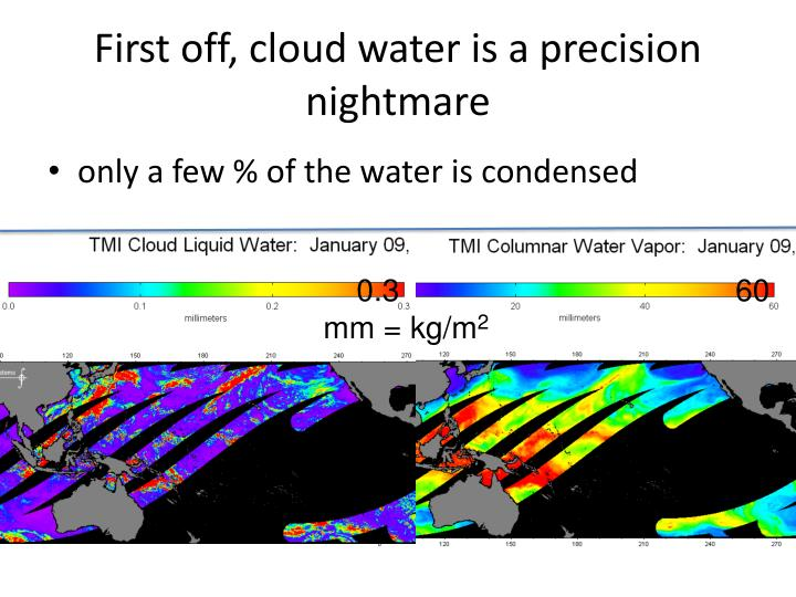 First off, cloud water is a precision nightmare