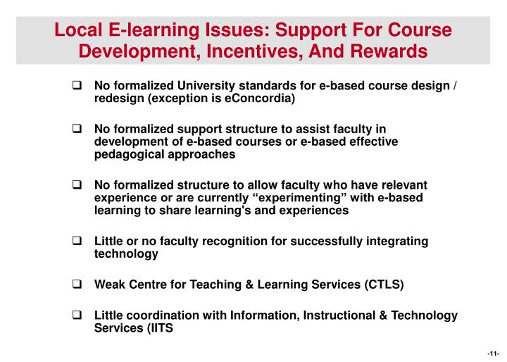 Local E-learning Issues: Support For Course Development, Incentives, And Rewards