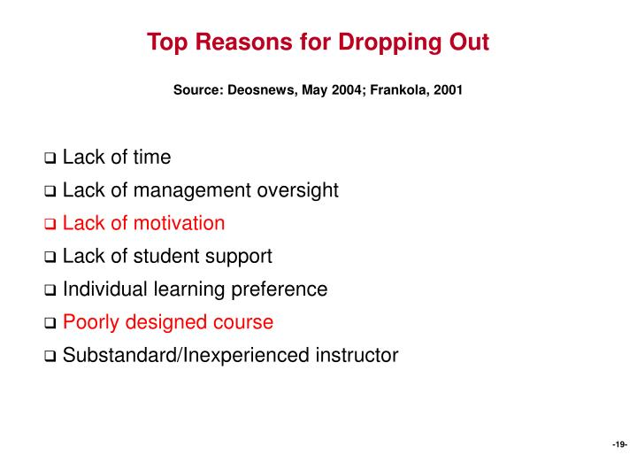 Top Reasons for Dropping Out