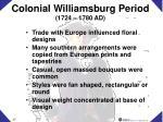 colonial williamsburg period 1724 1780 ad