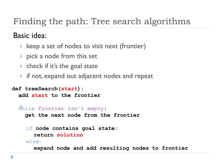 Finding the path: Tree search algorithms