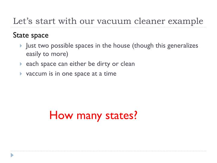Let's start with our vacuum cleaner example