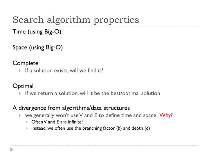 Search algorithm properties
