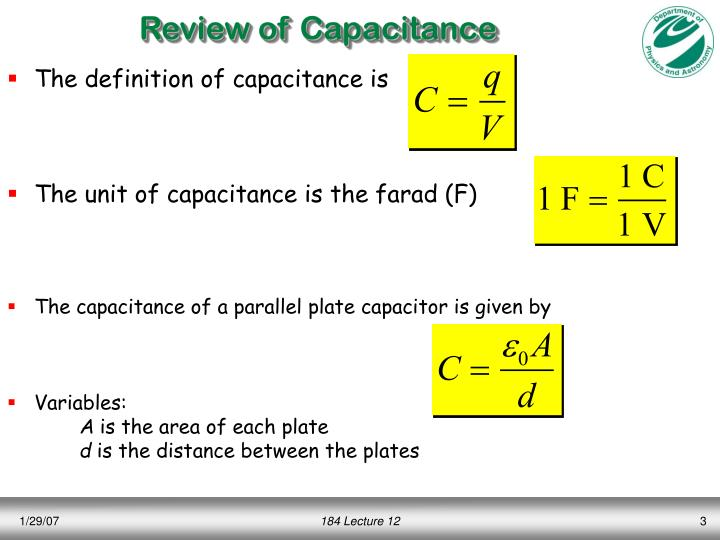 Review of Capacitance