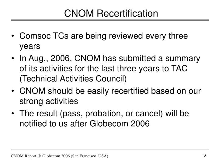 CNOM Recertification