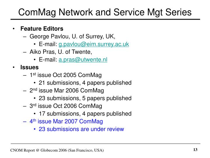 ComMag Network and Service Mgt Series