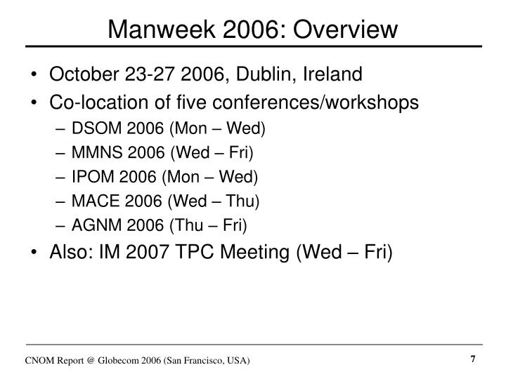 Manweek 2006: Overview