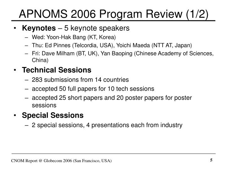 APNOMS 2006 Program Review (1/2)