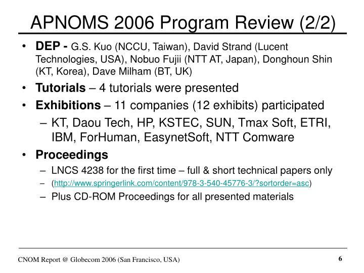 APNOMS 2006 Program Review (2/2)