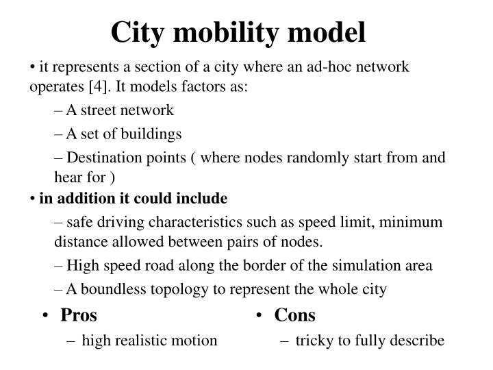 City mobility model