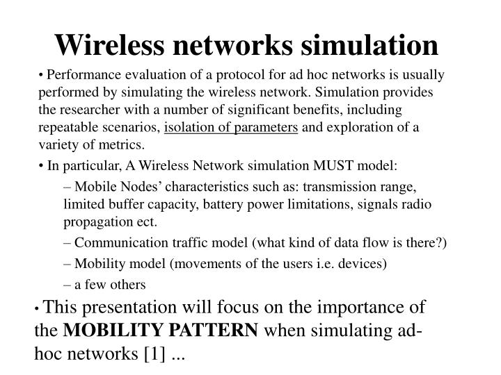 Wireless networks simulation