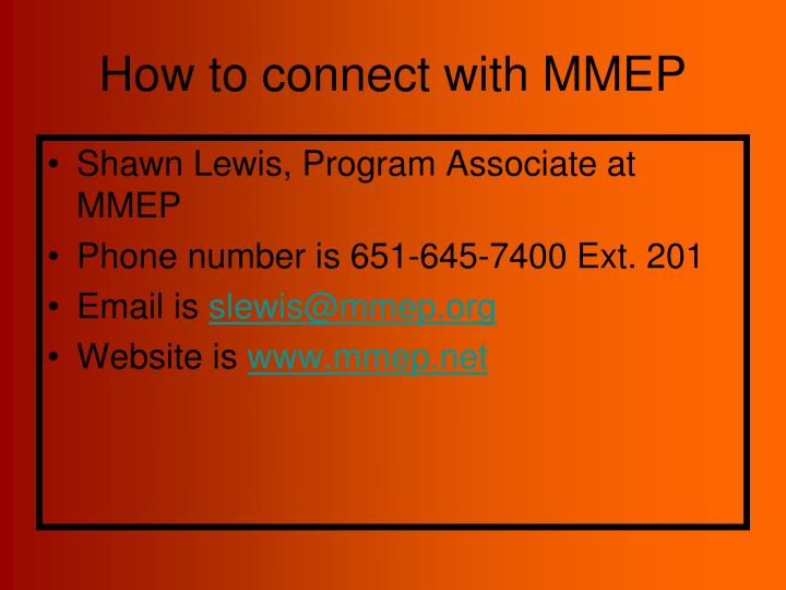 How to connect with MMEP