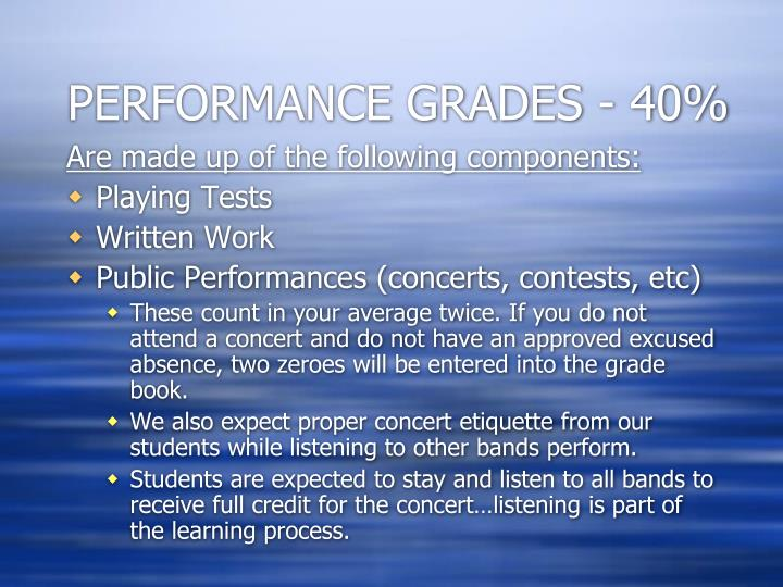 PERFORMANCE GRADES - 40%