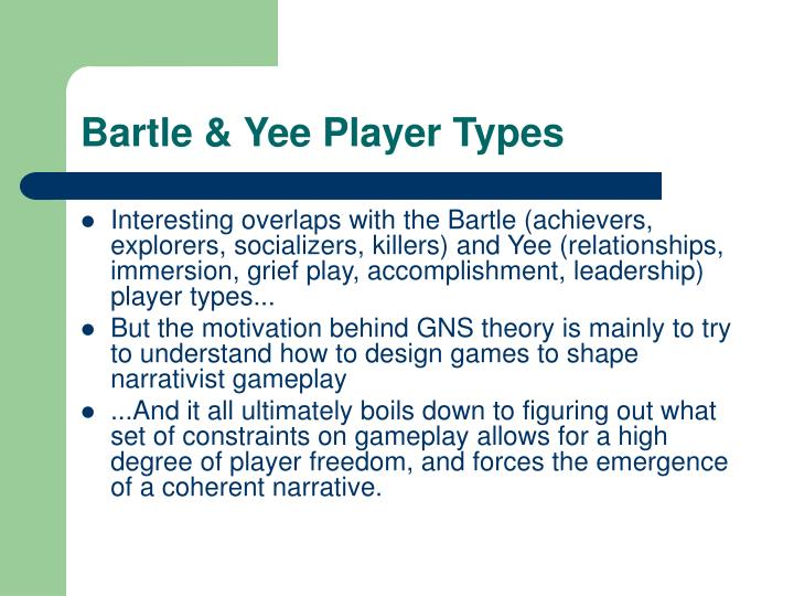 Bartle & Yee Player Types