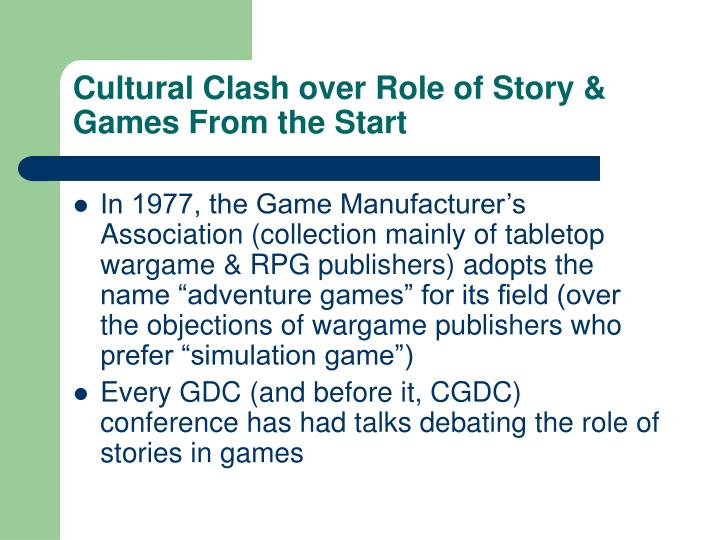 Cultural Clash over Role of Story & Games From the Start