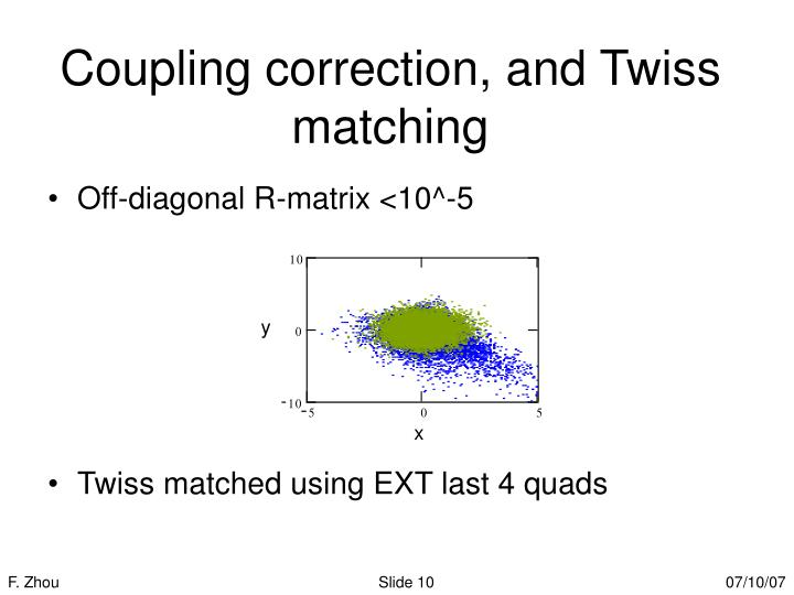 Coupling correction, and Twiss matching