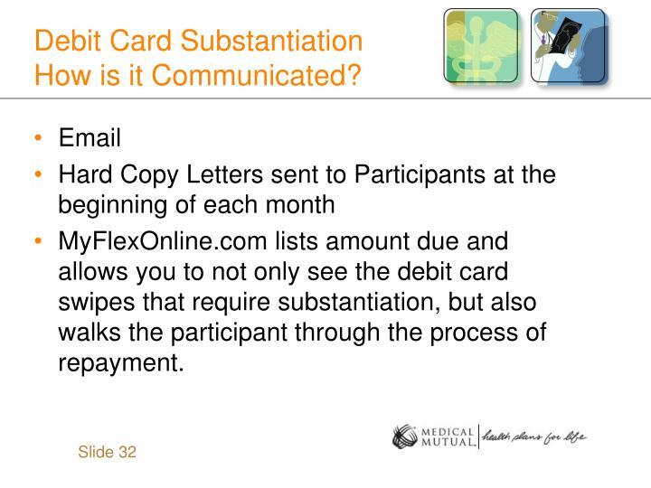 Debit Card Substantiation