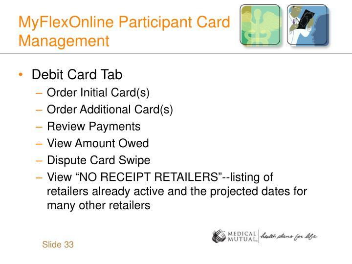 MyFlexOnline Participant Card Management