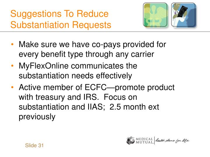 Suggestions To Reduce Substantiation Requests