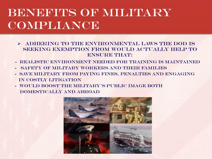 Benefits of Military Compliance