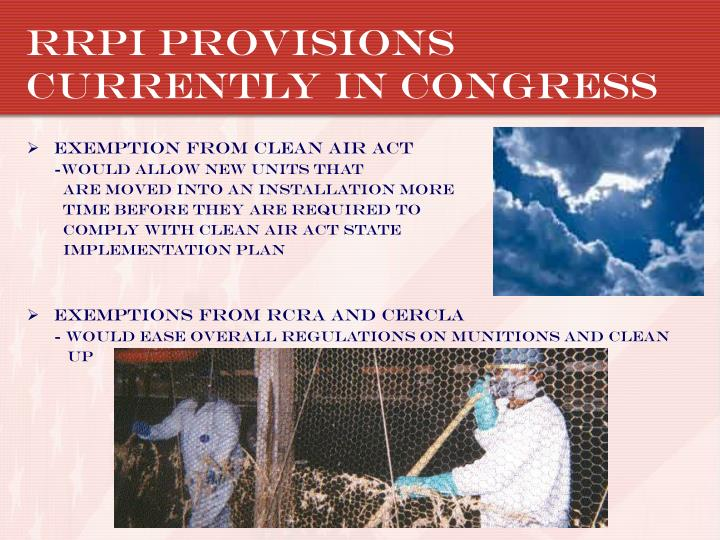 RRPI Provisions currently in congress