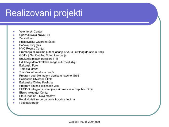 Realizovani projekti
