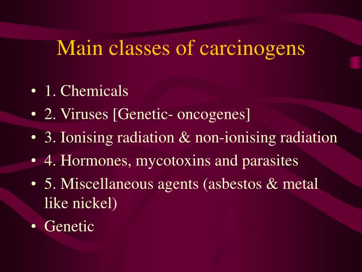 Main classes of carcinogens