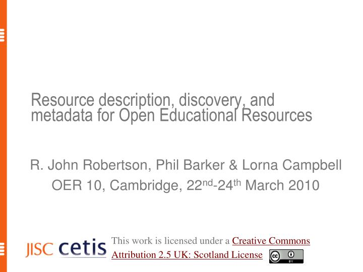 Resource description discovery and metadata for open educational resources