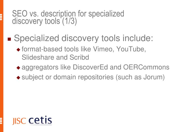 SEO vs. description for specialized discovery tools (1/3)