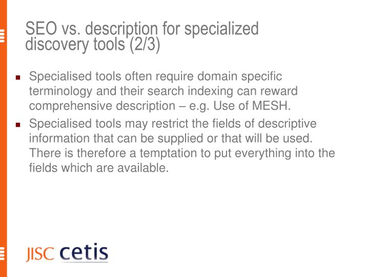 SEO vs. description for specialized discovery tools (2/3)