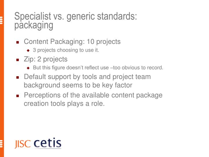 Specialist vs. generic standards: packaging