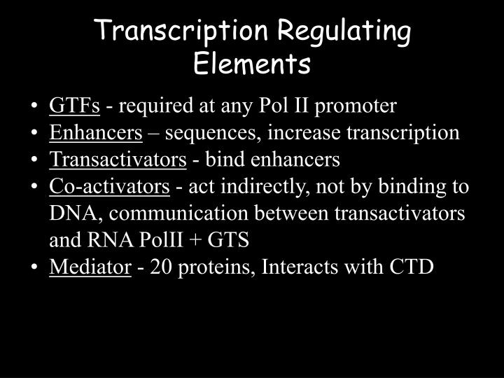 Transcription Regulating Elements