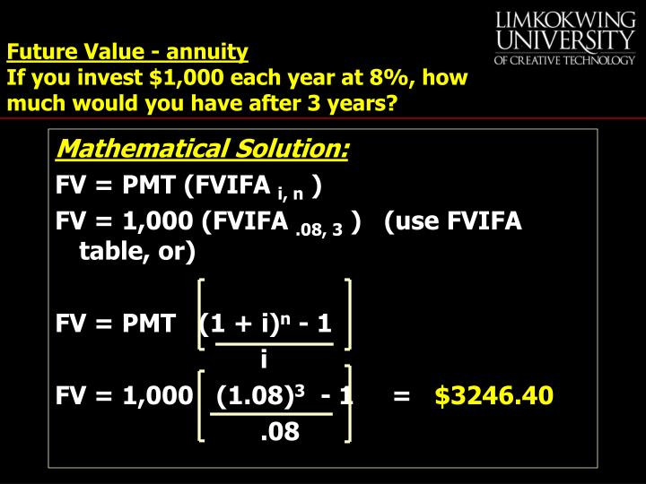 Future Value - annuity