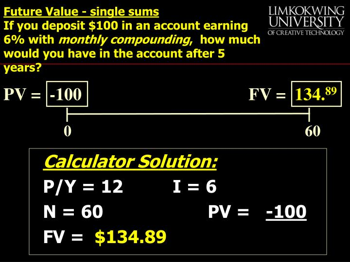 Future Value - single sums
