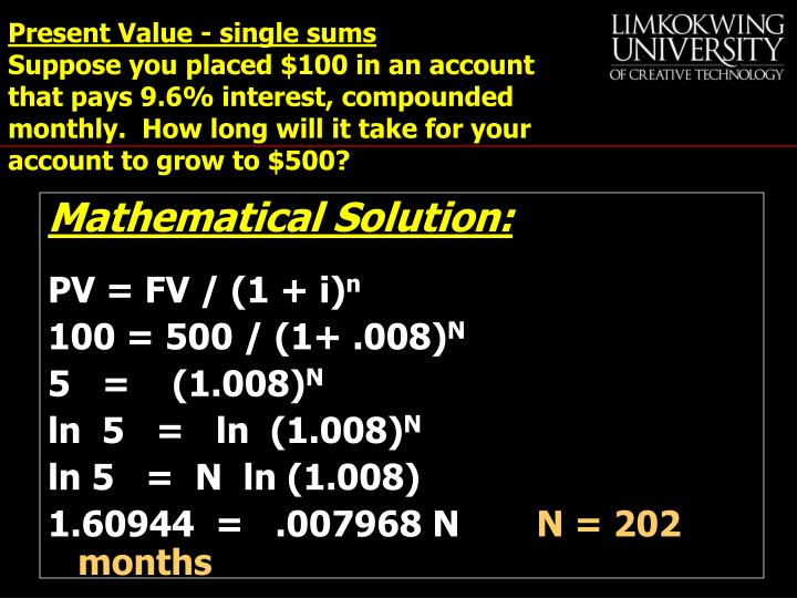 Present Value - single sums