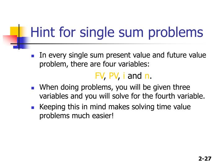 Hint for single sum problems