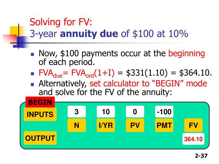 Solving for FV: