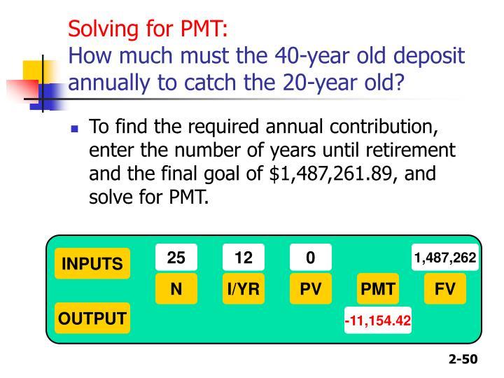 Solving for PMT: